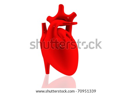 3d rendered human heart - stock photo