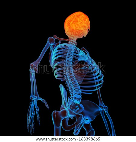 3d rendered human of head pain - bottom view - stock photo