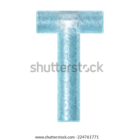 3d rendered ice alphabet letter T - stock photo