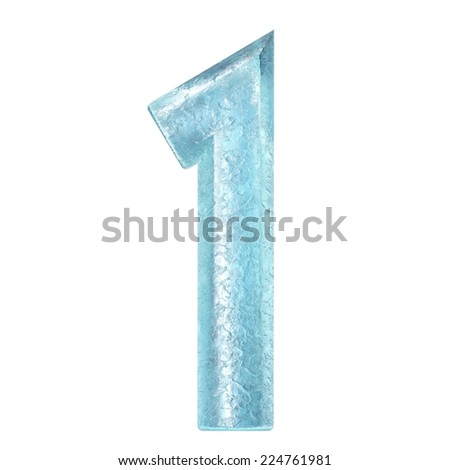 3d rendered ice alphabet number 1 - stock photo