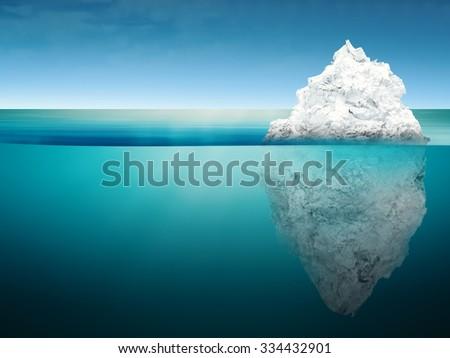 3d rendered iceberg on blue ocean  - stock photo