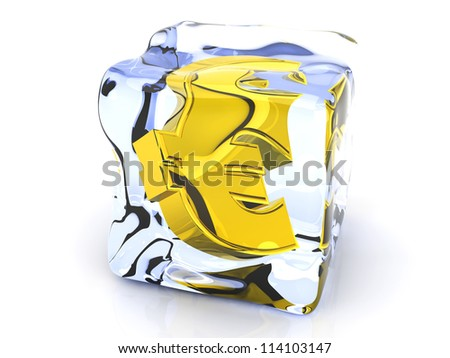 3D rendered Illustration. A Euro symbol in a Ice cube.