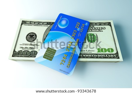 3D rendered Illustration. Credit card and cash.
