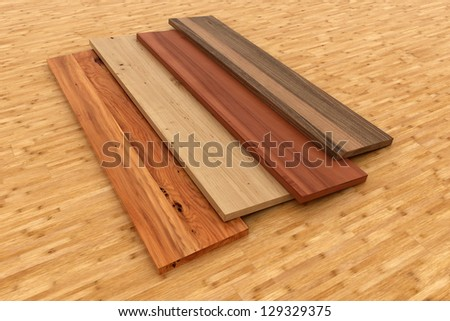 3d rendered illustration from a pack of different wood boards - stock photo