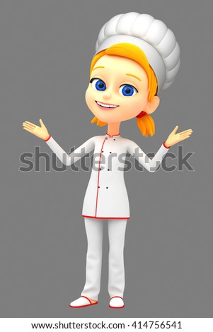3d rendered illustration. Girl chef isolated on white background hand pointing at empty space for advertising. - stock photo