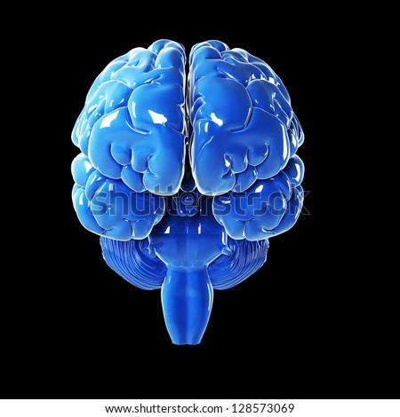 3d rendered illustration - glossy blue brain - stock photo