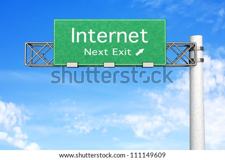 3D rendered Illustration. Highway Sign next exit to Internet. - stock photo