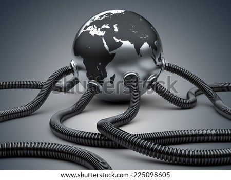 3d rendered illustration industrial pipeline with gas or oil attached to the planet.  - stock photo
