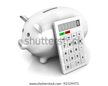 3D rendered Illustration. Isolated on white. A piggy Bank with a calculator. - stock photo