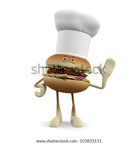 3d rendered illustration of a burger character