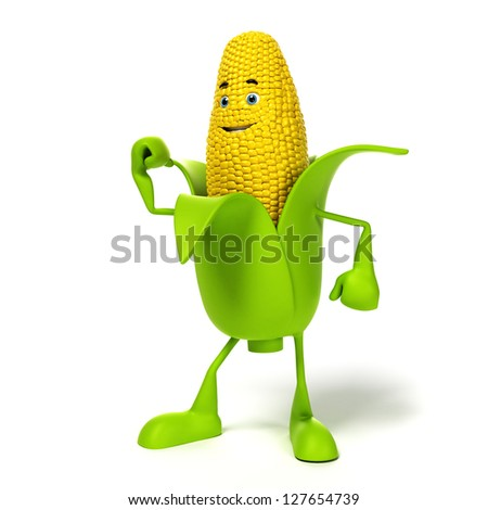 3d rendered illustration of a corn cob character - stock photo