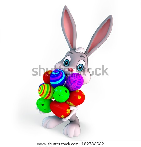 3d rendered illustration of a cute easter bunny with colorful egg - stock photo