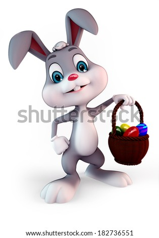 3d rendered illustration of a cute easter bunny with eggs basket - stock photo