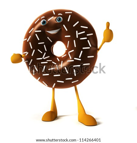 3d rendered illustration of a donut character - stock photo