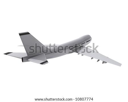 3d rendered illustration of a flying white lane - stock photo
