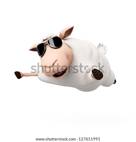 3d rendered illustration of a funny sheep - stock photo