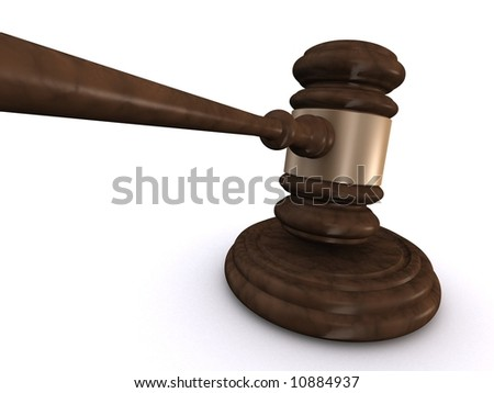 3d rendered illustration of a gavel in action - stock photo