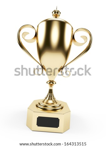 3d rendered illustration of a golden trophy