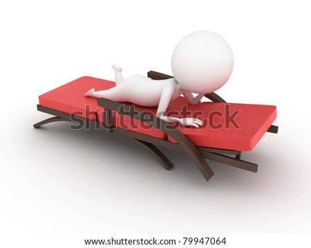 3d rendered illustration of a guy on a deck chair