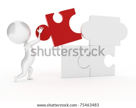 3d rendered illustration of a guy with a puzzle part