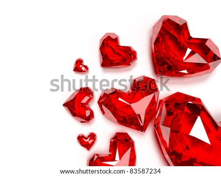 3d rendered illustration of a heart shaped ruby - stock photo