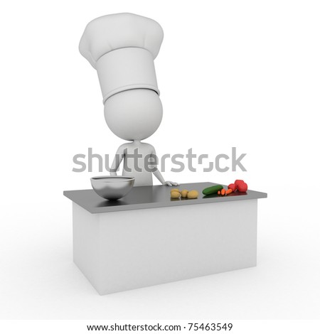 3d rendered illustration of a little chef - stock photo