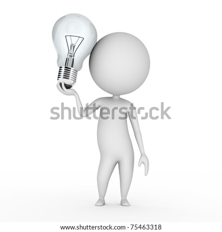 3d rendered illustration of a little guy with a bulb