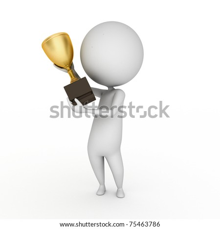 3d rendered illustration of a little guy with a cup