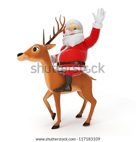3d rendered illustration of a little santa riding a reindeer - stock photo
