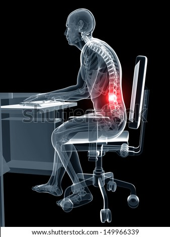 3d rendered illustration of a man working on pc - wrong sitting posture - stock photo
