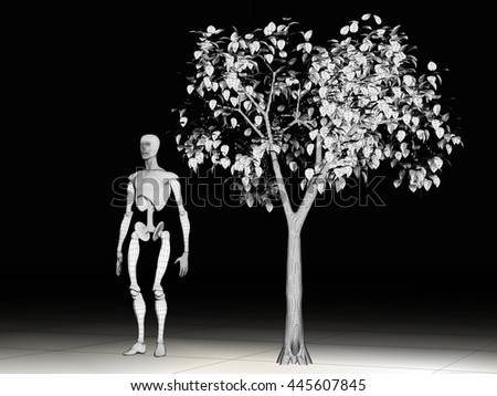 3d rendered illustration of a manikin and tree