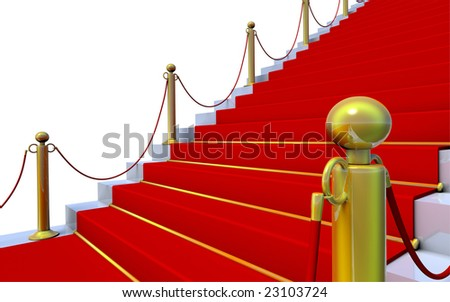 3D rendered illustration of a marble staircase with red carpet and golden posts - stock photo