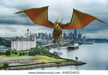 3d rendered illustration of a mythical dragon flying over the Seattle Washington waterfront