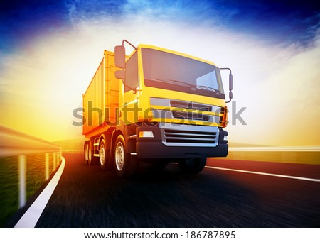 3d rendered illustration of a orange semi-truck with cargo container on blurry asphalt road under blue sky and sunset light - stock photo