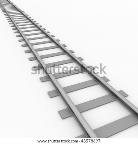 3D rendered illustration of a railroad track - stock photo