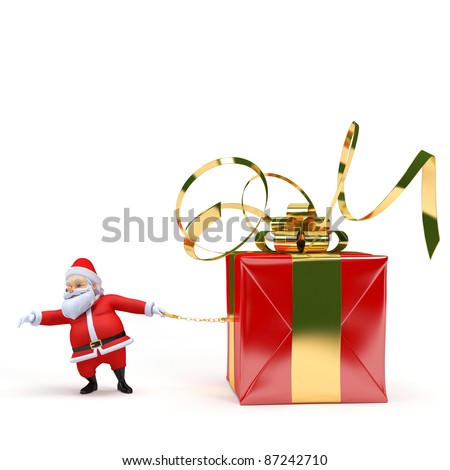 3d rendered illustration of a santa claus with a present - stock photo