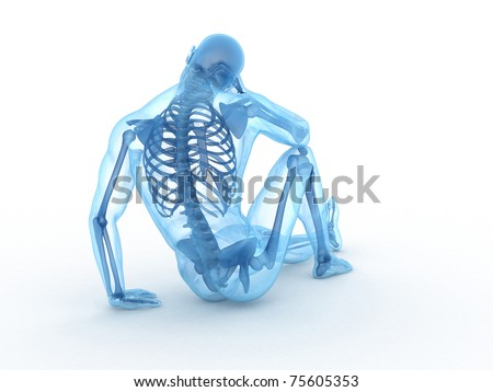 3d rendered illustration of a sitting male with visible bones - stock photo