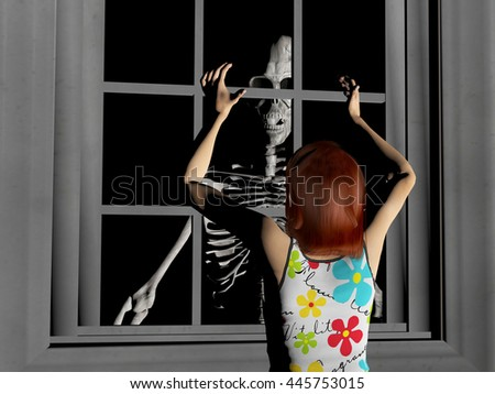 3d rendered illustration of a young woman being terrified by a skeleton appearing on the other side of a window