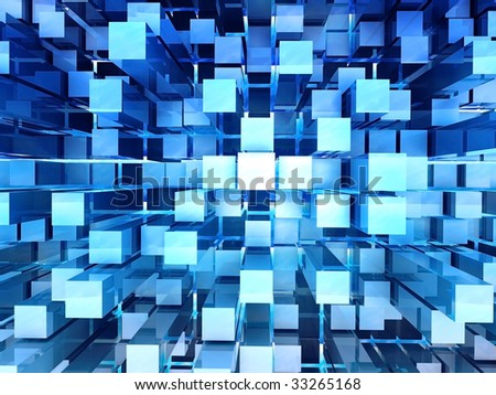 3D rendered illustration of abstract blue background with one point perspective - stock photo