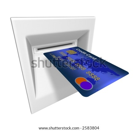 3D rendered illustration of abstract credit card in ATM machine - stock photo