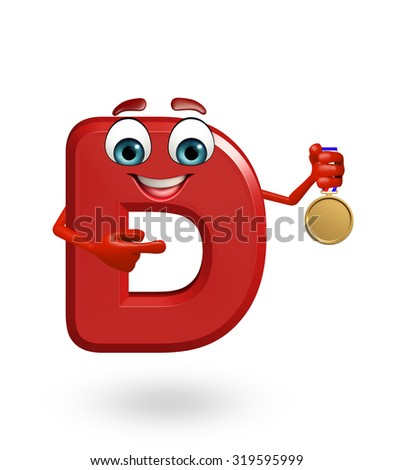 3d rendered illustration of alphabet D Cartoon Character with medal