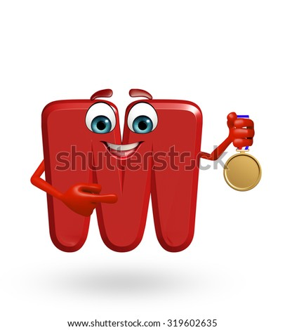 3d rendered illustration of alphabet M Cartoon Character with medal