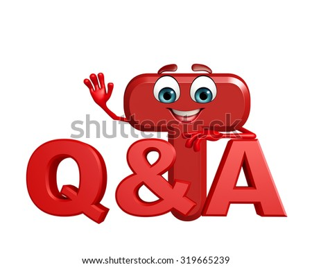 3d rendered illustration of alphabet T Cartoon Character with Q and A