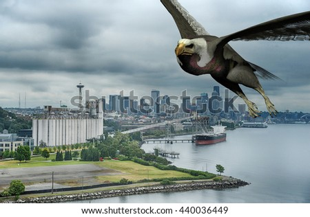 3d rendered illustration of an eagle flying over the Seattle Washington waterfront