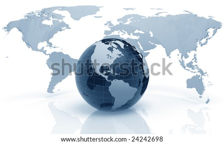 3D Rendered illustration of an earth globe made of glass - stock photo