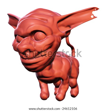 3D rendered illustration of an evil caricature head with an animal body symbolizing sinfulness, smiling wickedly - stock photo