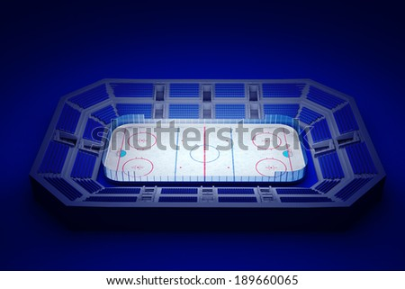 3d rendered illustration of an ice hockey arena on blue background - stock photo