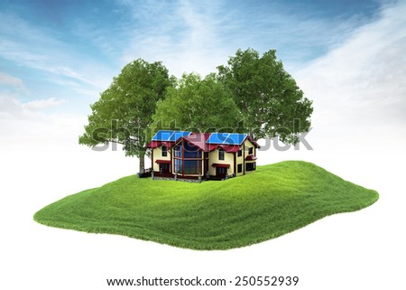 3d rendered illustration of an island house with solar panels on the rood floating in the air on sky background - stock photo