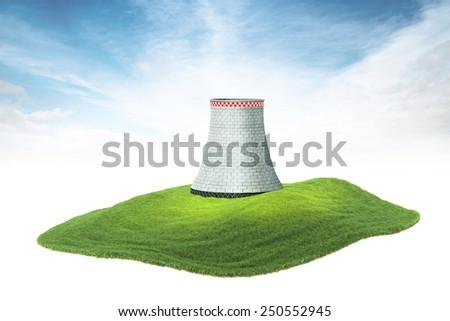 3d rendered illustration of an island with cooling tower of nuclear power plant floating in the air - stock photo