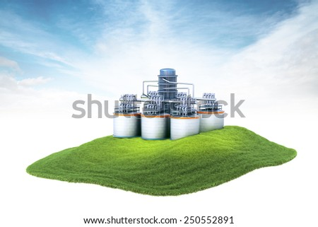 3d rendered illustration of an island with oil refinery plant and storages floating in the air on sky background - stock photo